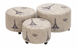 Wood Ottoman Set Of 3 Handcrafted Accent Furniture - 35018 by Benzara