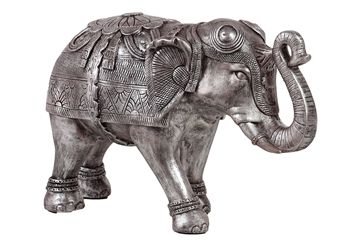 Woodland imports bru 876072 beautifully decorated resin elephant figurine in silver large Silver elephant home decor
