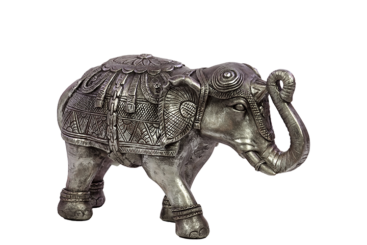 Woodland imports bru 876060 beautifully decorated resin elephant figurine in silver small Silver elephant home decor