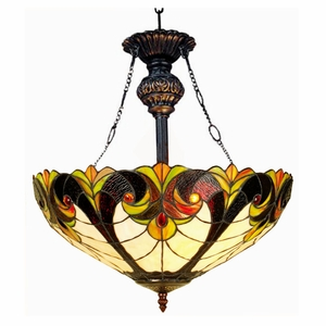 """LIAISON Tiffany-style 2 Light Victorian Inverted Ceiling Pendant 18"""" Shade"""