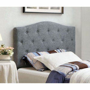 Belinda Grey Button Tufted Upholstered Twin Headboard