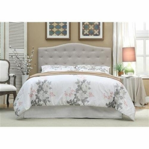 Belinda Ivory Button Tufted Upholstered Full/Queen Headboard