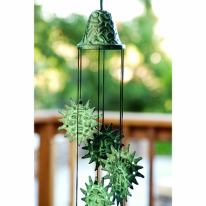Bell with Sun Wind Chime in Antique Green Finish by SPI-HOME