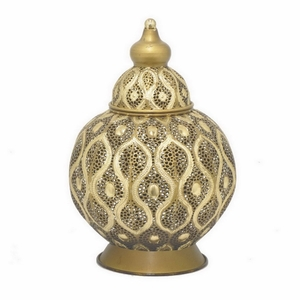 "Benzara 10"" Golden Metal Urn - 73578 by BENZARA"