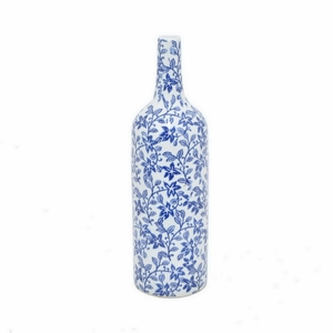"Benzara 11.5"" White and Blue Ceramic Vase - 99939 by BENZARA"