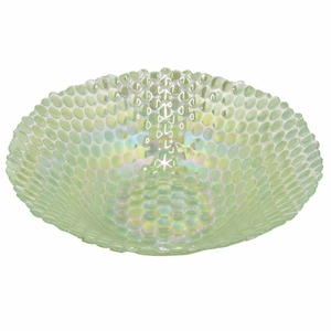 "Benzara 13"" Green Glass Hurricane Holder - 42085 by BENZARA"