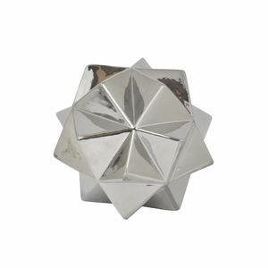 Porcelain And Ceramic Geometric Ball, Silver - 29853 by Benzara