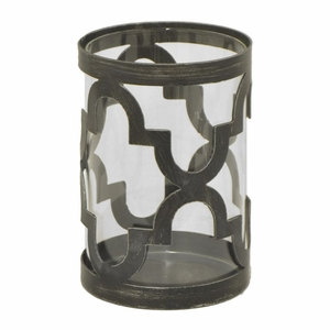 Benzara 76650 Outstanding Metal Candle Holder with Glass