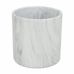 "Benzara 8"" White Marble Look Flower Pot - 13958 by BENZARA"