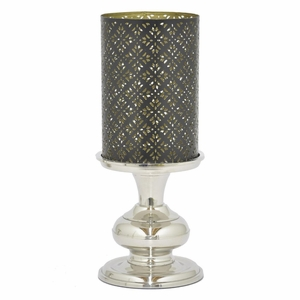 "Benzara 82751 13.75"" Metal Candle Holder With Eatching Top - 82751 by BENZARA"