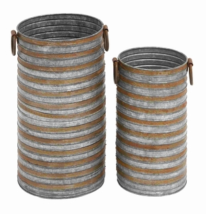 Cylindrical Shaped Metal Galvanized Planter Set of Two with Side Handles - 49111 by Benzara