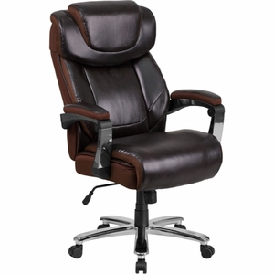 Big & Tall Brown Leather Chair - GO-2223-BN-GG by Flash Furniture