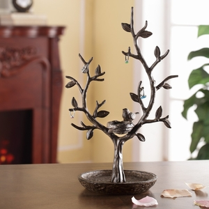 SPI HOME Bird and Nest on Twig Tree Jewelry Stand