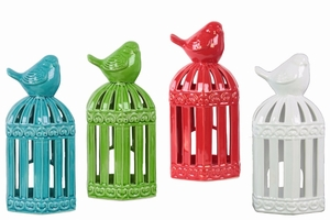 Bird lantern Rectangle Design Body Assortment of Four - Benzara