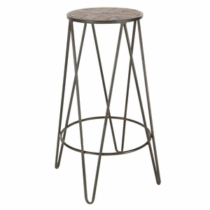 Black And Brown Finish Metal Wood Stool - 94614 by Benzara