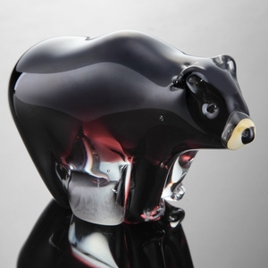 Black Bear with White Snout Art Glass Home Decor by SPI-HOME
