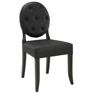 Black Button Dining Side Chair