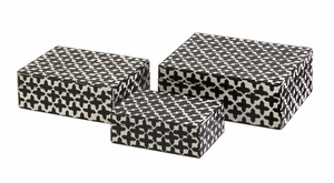 IMAX Black Cross Designer Lizzie Bone Boxes (Set of 3)