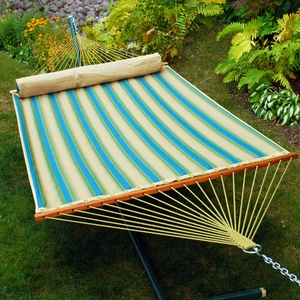 Black forest stripe pattern and Sand solid 13' Reversible Quilted Hammock with Matching Pillow by Algoma