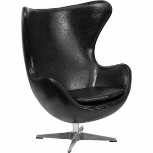 Black Leather Egg Chair Black - ZB-9-GG by Flash Furniture
