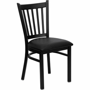 Black  Restaurant Chair Black - XU-DG-6Q2B-VRT-BLKV-GG by Flash Furniture