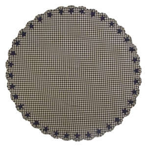 Black Star Scalloped Table Cloth 70 Round