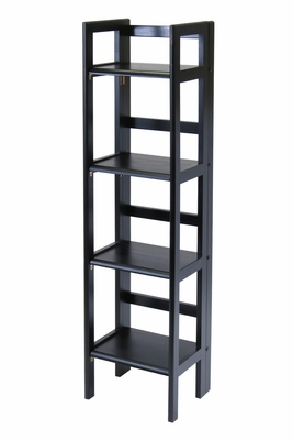Black Stylish Four Tier Folding Shelf by Winsome Woods