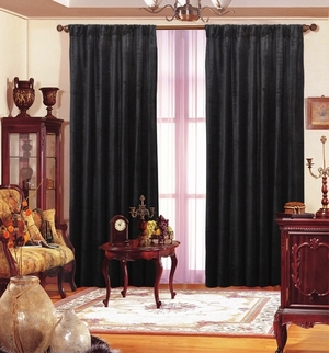 Maifa Textiles Black Velvet Window Theater Curtain Drape 108""
