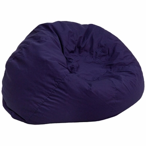 Blue Fabric Kids Bean Bag Navy Blue - DG-BEAN-LARGE-SOLID-BL-GG by Flash Furniture
