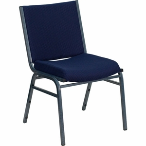 Blue Fabric Metal Stack Chair Navy Blue - XU-60153-NVY-GG by Flash Furniture