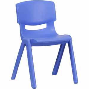 Blue Plastic Stack Chair Blue - YU-YCX-004-BLUE-GG by Flash Furniture