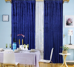 Maifa Textiles Blue Velvet Window Theater Curtain Drape 84""