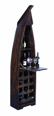 Extravagant Wooden Boat Wine Cabinet with Multiple Sections - 37725 by Benzara
