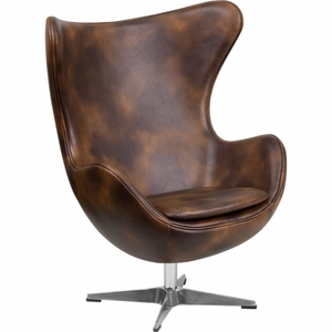Bomber Jacket Leather Egg Seat Brown - ZB-21-GG by Flash Furniture