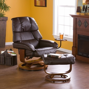 Bonded Leather Recliner and Ottoman