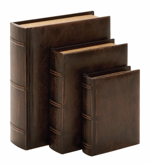Library Wood Leather Book Set/3 - 55701 by Benzara