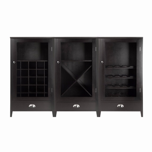 Bordeaux 3-Pc Modular Wine Cabinet  Set with Tempered Glass Doors - 92359 by Winsome Wood