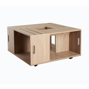 Borris Weathered White Crate Inspired Mobile Coffee Table