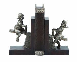 Polystone Boy/Girl Bookend Pair With VersatileDecor Appeal - 64717 by Benzara