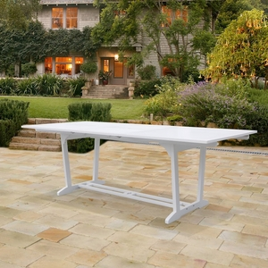 Bradley V1334 Outdoor White Hardwood Rectangular Extention Garden Table