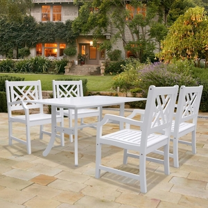 Bradley Rectangular and Curved Leg Table & Arm ChairOutdoor Wood Dining Set 2