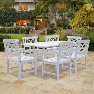 Bradley Rectangular and Curved Leg Table & Arm ChairOutdoor Wood Dining Set 9