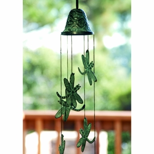 Brass Dragonfly Wind Chime in Antique Green by SPI-HOME
