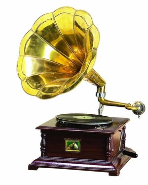 Wood Metal Gramophone Decor With Musical Blend by Benzara