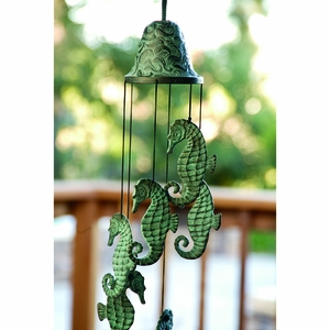Brass Seahorse Wind Chime in Greenish Color by SPI-HOME