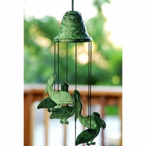 Brass Wind Chime Constructed with Six Pelican Figurines by SPI-HOME