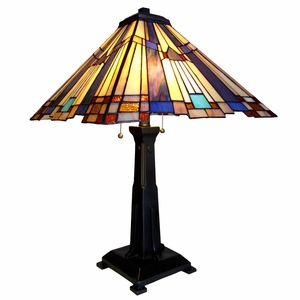 "CHLOE Lighting FLARE Tiffany-style 2 Light Mission Table Lamp 15"" Shade"