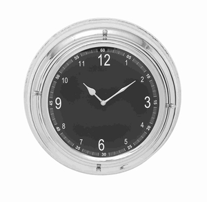 Elegant And Circular Metal Wall Clock With Nickel Plated Frame - 27865 by Benzara