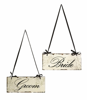 Bride and Groom Decorative Sign in Black and White