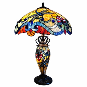 "CHLOE Lighting 3 Light Tiffany Style Dragonfly Double Lit Table Lamp 18"" Shade"